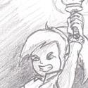 Petit dessin rapido de Link avec le sceptre de Jack Frost hihi