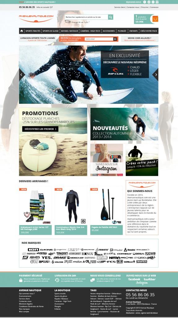 Webdesign site e-commerce surf